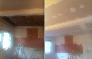 Installation ceiling and plastering
