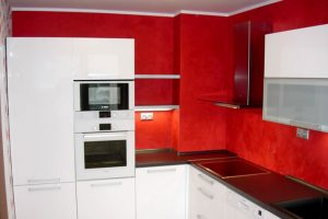 Beautiful red wall kitchen
